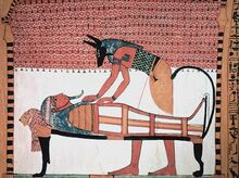 Anubis attending the mummy of Sennedjem