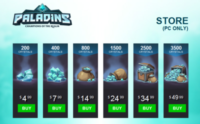 Crystals price (as of 1-14-16)