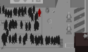 Man in red in line