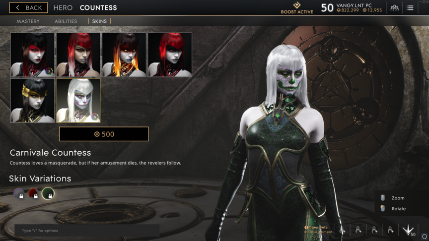Countess Green Carnivale skin