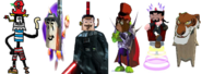 Devious Diesel as Razorbeard, Zorran as Ripto, Oliver the Vast as Dr. Neo Cortex, Cat. R Waul as Baron Dante, Ben Ravencroft as Specter, and Shere Khan as The Collector.