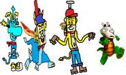 Thomas as Rayman, Ten Cents as Spyro, Theodore Tugboat as Crash Bandicoot, and Rocko as Croc.