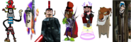 Devious Diesel as Razorbeard, Zorran as Ripto, Oliver the Vast as Dr. Neo Cortex, Cat. R Waul as Baron Dante, Ben Ravencroft as Specter, Shere Khan as The Collector, and Bluto (Brutus) as Scott Shelby.
