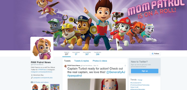 File:PAW Patrol PAWPatrolNews PAW Patrol News Twitter Ryder Marshall Rubble Chase Rocky Zuma Skye Cap'n Turbot Captain.png