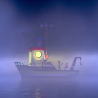 The boat's headlights turned on