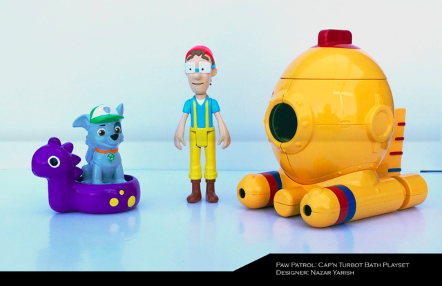 File:PAW Patrol Cap'n Turbot Captain Horatio Bath Playset Toy with Rocky and Diving Bell Seabee.png