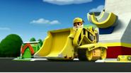 Rubble in his bulldozer
