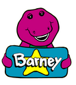 Barney Holding a Blue Square With a Yellow Star