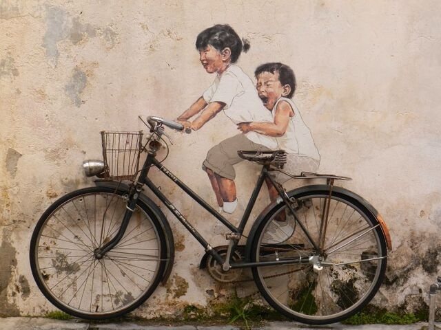 File:Little children on a bicycle mural, George Town, Penang.jpg