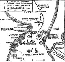 Battle of Penang map, New York Times, 1914