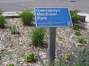 Sign, Gwendolyn MacEwen Park, Toronto, Ontario