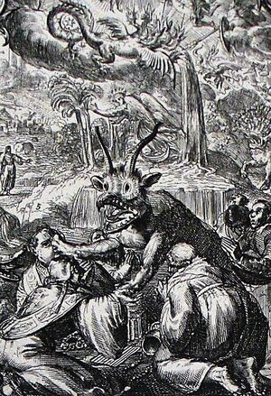 Apocalypse 9. Great plagues follow the sound of the trumpet. Revelation cap 8 v 11. Hooghe. Phillip Medhurst Collection