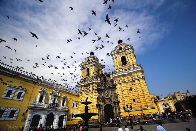File:St francis cathedral church yellow lima peru birds 1.jpg