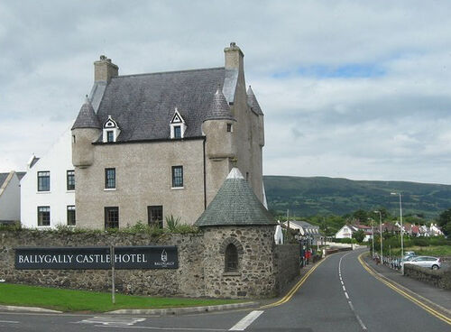 Coast Road with Ballygally Castle Hotel - geograph.org.uk - 925365