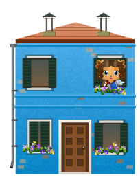Animated venetian blue house