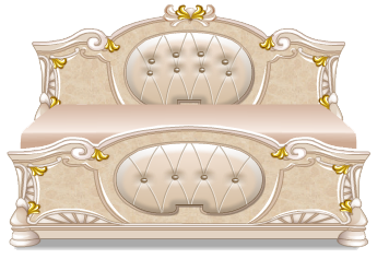 Beige rococo bed