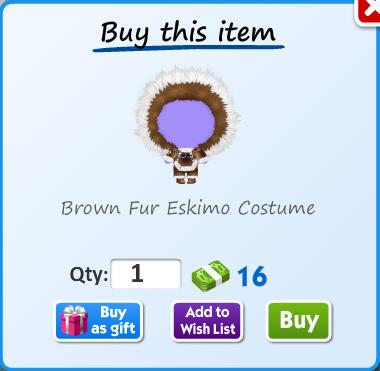 Brown fur eskimo costume