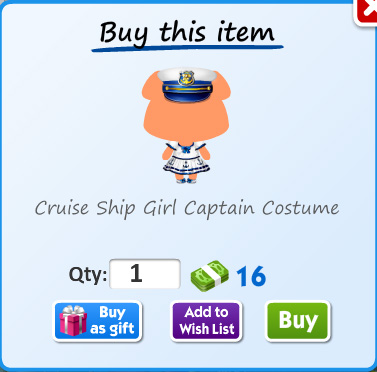 Cruise ship girl captain costume