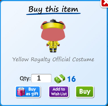 Yellow royalty officer costume