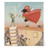 Illustration-of-peter-pan-and-captain-hook-sword-fighting-by-roy-best i-G-61-6157-LHXG100Z