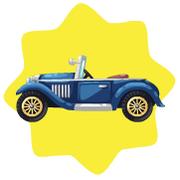 Vintage 1920s blue car