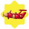 Red flying airplane