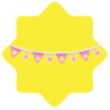 Pink and yellow flag decoration
