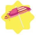Pink Striped Beach Umbrella