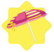 Pink striped beach umbrella
