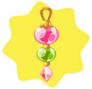 Pink and green dangling ornament
