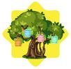 Luminous tree with chinese lanterns