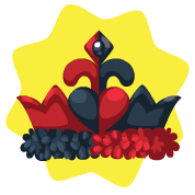 Red and black crown hat