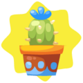 Blue potted cactus