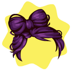 Purple bow wig
