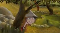 Chinese Candace behind a tree