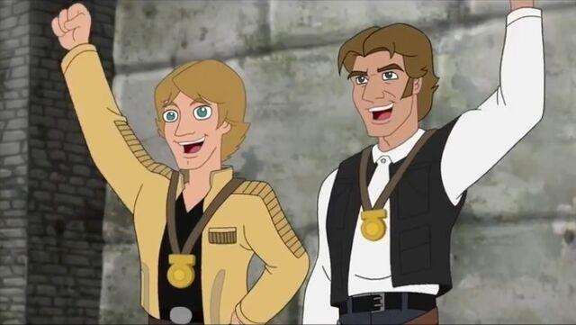 File:Luke and Han cheer Rebel, Let's Go.jpg
