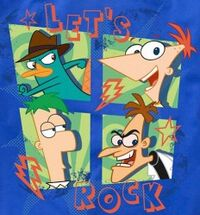 Agent P, Phineas, Ferb and Heinz four-panel action t-shirt design 2
