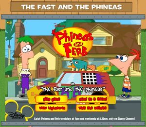 The Fast and the Phineas game title screen