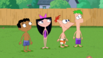 Phineas, Ferb, Isabella and Baljeet look at the Giant ball of water