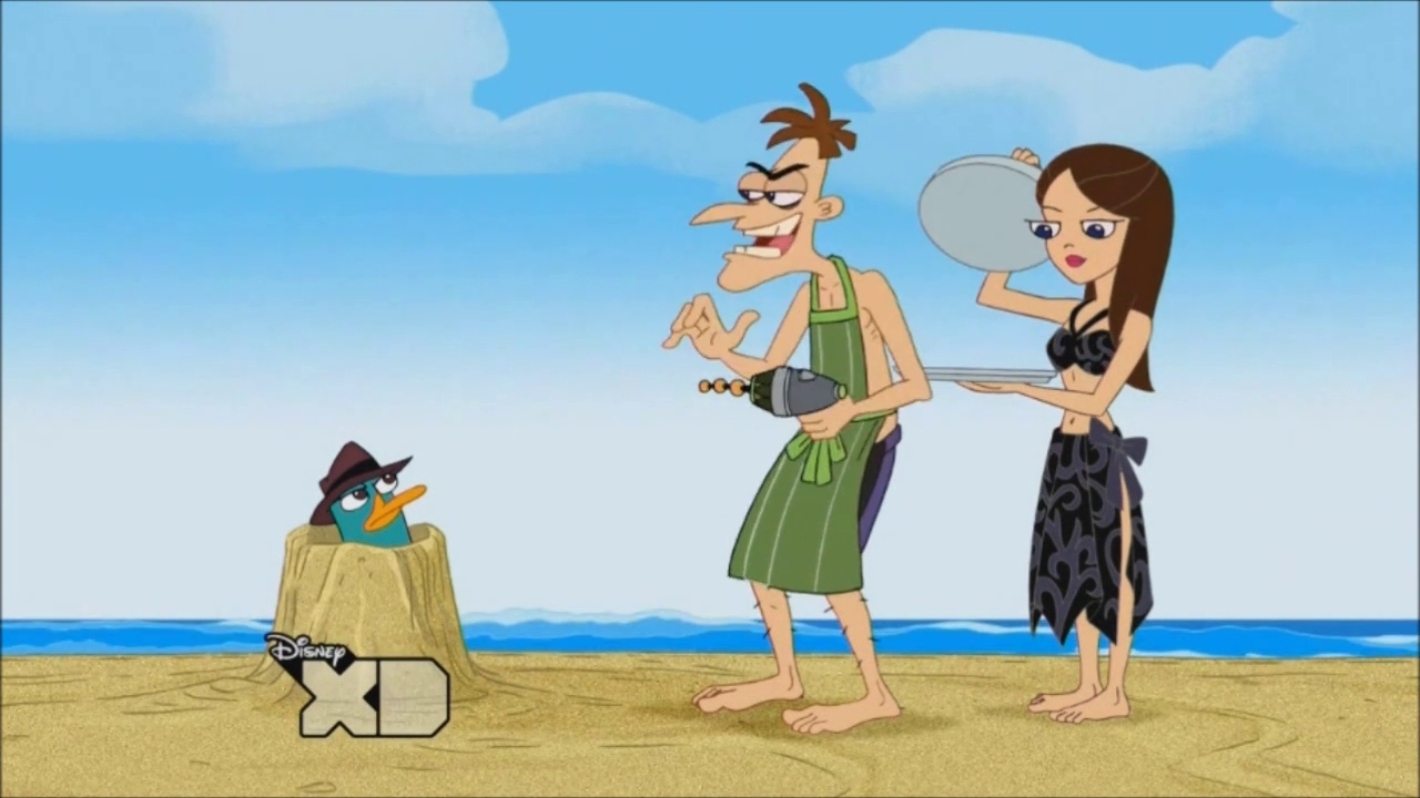 image perry doof vanessa at the beach jpg phineas and ferb