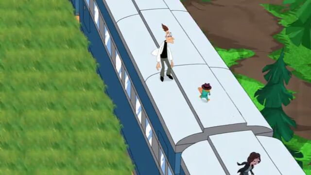 File:Top of train, Doofenshmirtz, Perry, and Canadian Agent (Sidetracked).jpg