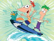 Phineas Ferb Perry surfing