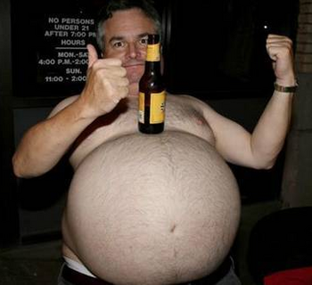 Fat Guy with Beer Bottle