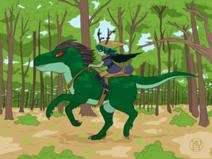 212px-Huntress wizard riding a reptile horse by coldfusion -d5mo7sz