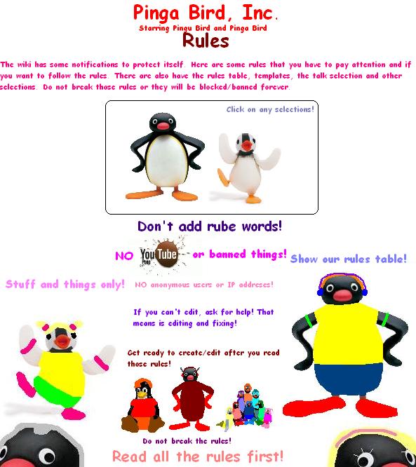 Pinga Bird, Inc. Rules Poster