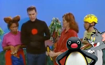 File:4 Presenters, 1 Cat and 1 Penguin.PNG