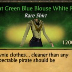 Light Green Blue Blouse White Ruff