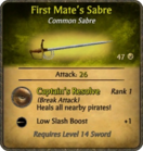 First Mate's Sabre Card