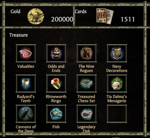 Treasure menu