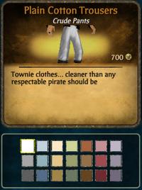 Plain cotton trousers